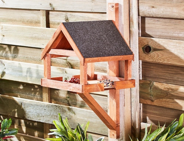 Wall-mounted wooden bird table from Happy Beaks